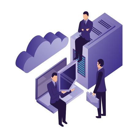 businessmen with server data laptop shield cloud storage vector illustration