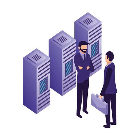 businessmen with data server center technology vector illustration