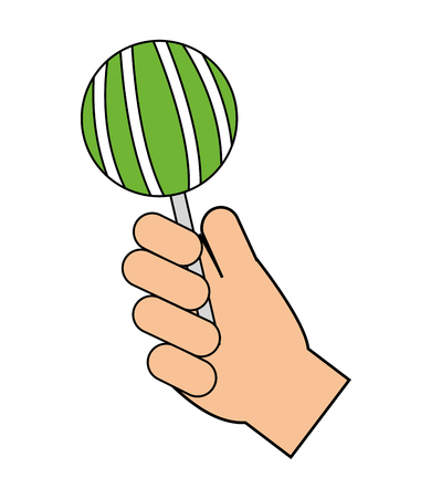 hand holding sweet lollipop delicious vector illustration Illustration