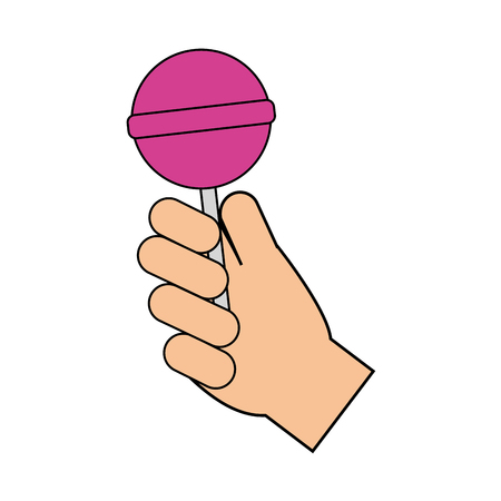 hand holding sweet lollipop delicious vector illustration Иллюстрация