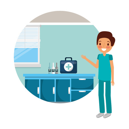doctor with kit first aid medical examination room vector illustration