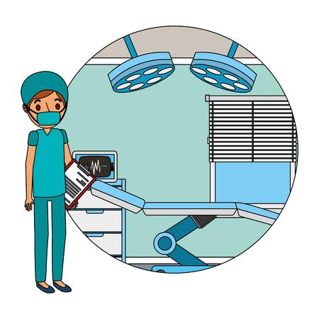 médico profesional en la habitación equipada en una ilustración de vector de hospital Ilustración de vector