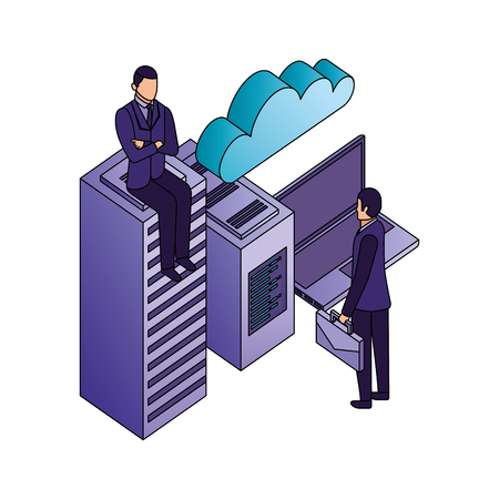 business men with laptop database center cpu cloud computing vector illustration Illustration