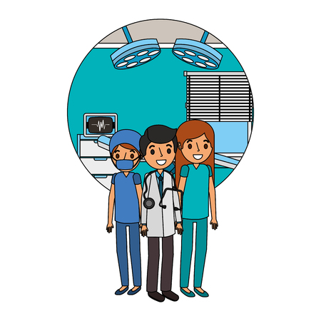 medical staff doctor nurse in workplace vector illustration
