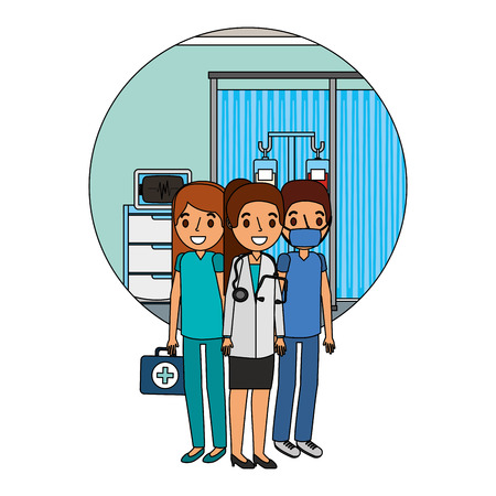 medical staff female doctor nurse surgeon in consultation room vector illustration