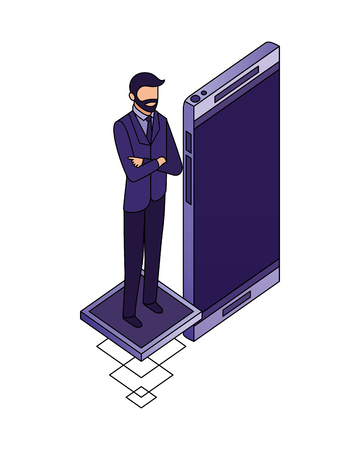 businessman with smartphone data network vector illustration