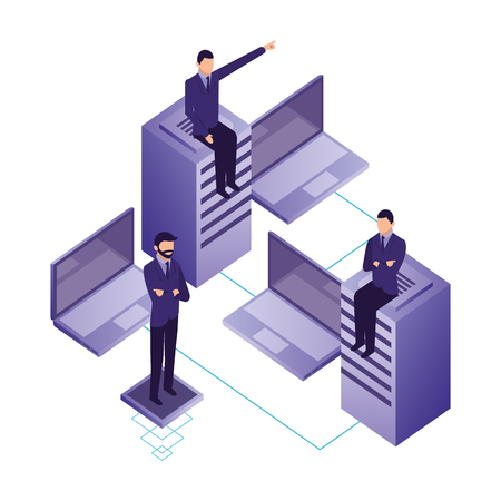 business men with database server and laptops vector illustration
