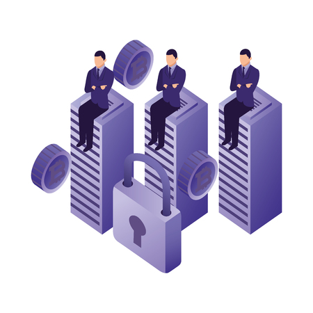 businessmen sitting on database center bitcoin security vector illustration
