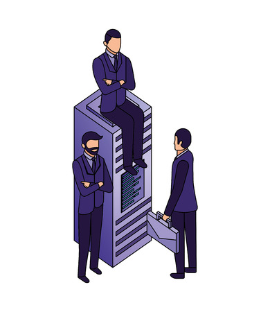 businessmen database server technology work business vector illustration Stock Vector - 110446932