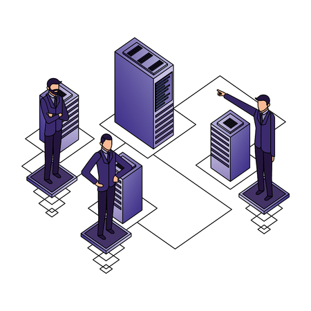 businessmen network connection database server vector illustration