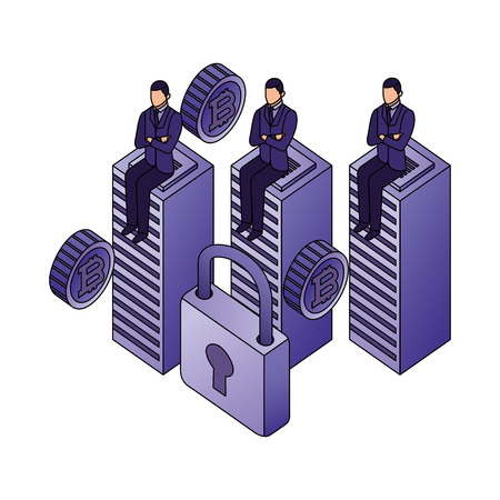 businessmen sitting on database center bitcoin security vector illustration