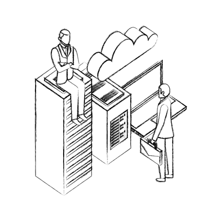 businessmen with laptop computer and data server vector illustration design