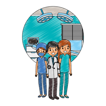 medical staff in operating theater character vector illustration design