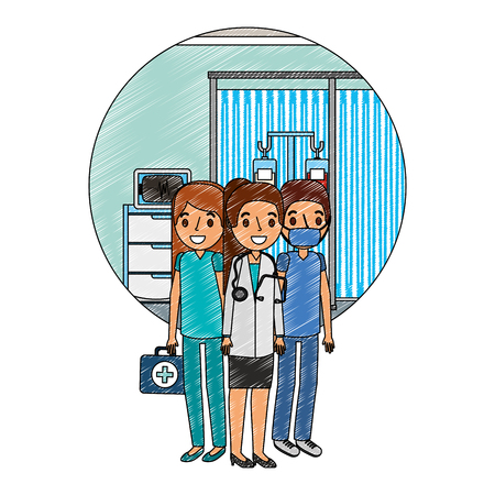 medical staff in doctor office character vector illustration design