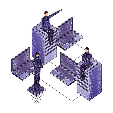 businessmen with laptops computers and data server vector illustration design