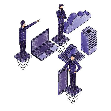 businessmen group teamwork with network icons vector illustration design