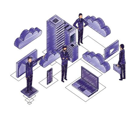 businessmen with data center network icons vector illustration design Иллюстрация