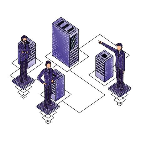 businessmen with server data center isometric vector illustration design Ilustração