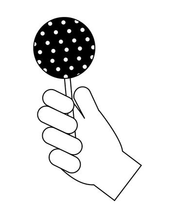 hand holding sweet lollipop delicious vector illustration 일러스트