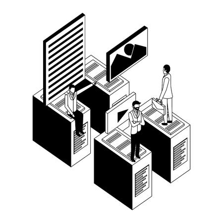 businessmen database server connection data files vector illustration