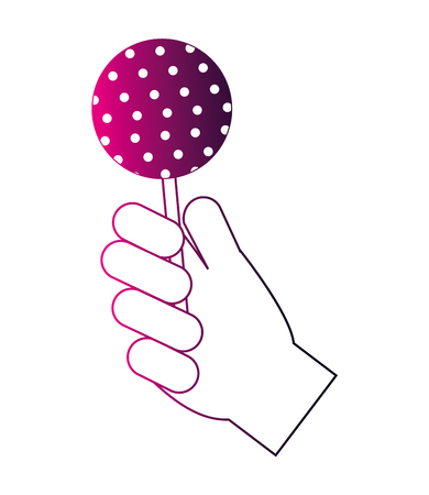 hand holding sweet lollipop delicious vector illustration neon design