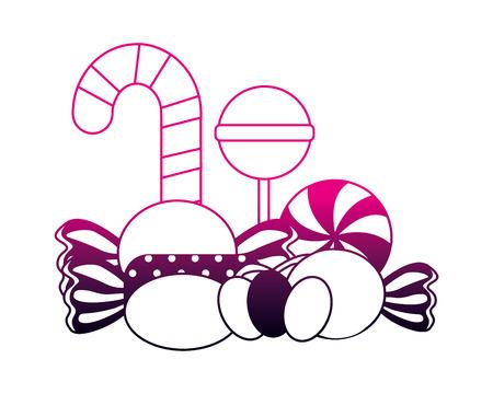 sweet candy cane lollipops bonbons confectionery vector illustration neon design Illustration