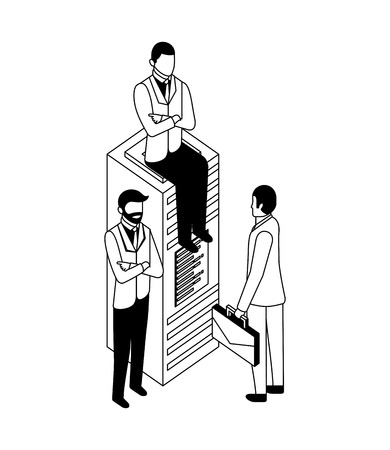 businessmen database server technology work business vector illustration