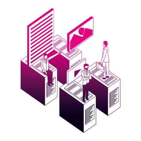 businessmen database server connection data files vector illustration neon design