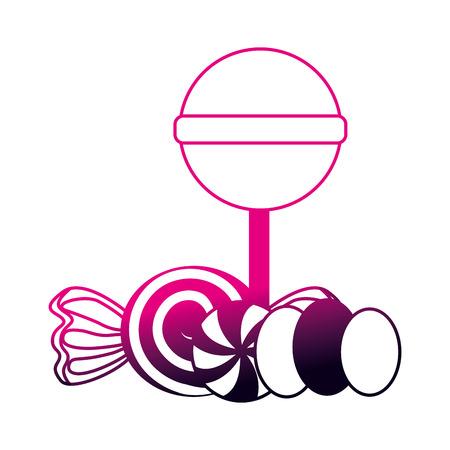 sweet candies lollipops caramels gummy vector illustration neon design