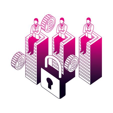 businessmen sitting on database center bitcoin security vector illustration neon design