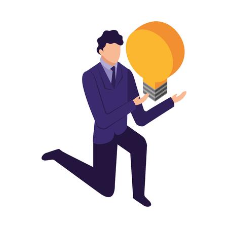 elegant businessman down on my knees with light bulb vector illustration design Foto de archivo - 110418290