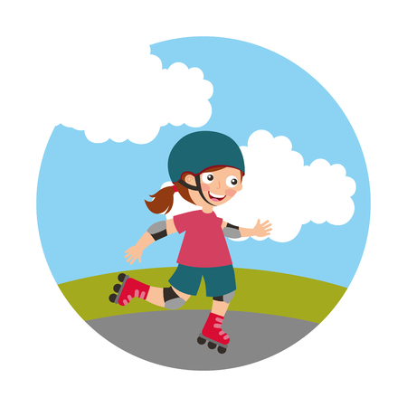 little girl with skates isolated icon vector illustration design