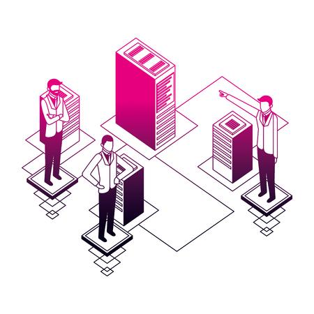 businessmen network connection database server vector illustration neon design Illustration