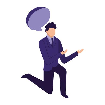 elegant businessman down on my knees with speech bubble vector illustration design Ilustración de vector