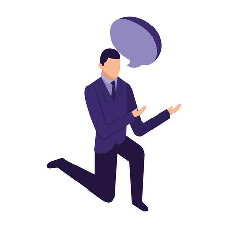 Elegante empresario de rodillas con diseño de ilustración de vector de burbujas de discurso