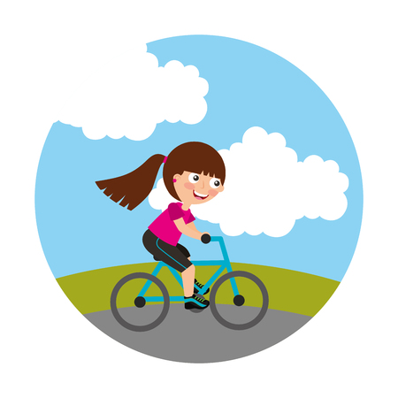 young girl in bicycle isolated icon vector illustration design