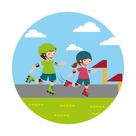 Niño y niña patinando icono aislado diseño ilustración vectorial