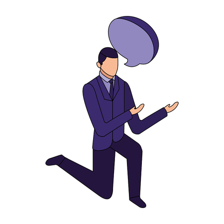elegant businessman down on my knees with speech bubble vector illustration design Foto de archivo - 110418325
