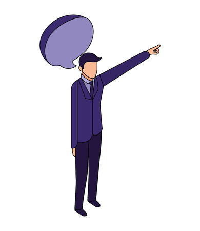 elegant businessman with hand up and speech bubble vector illustration design