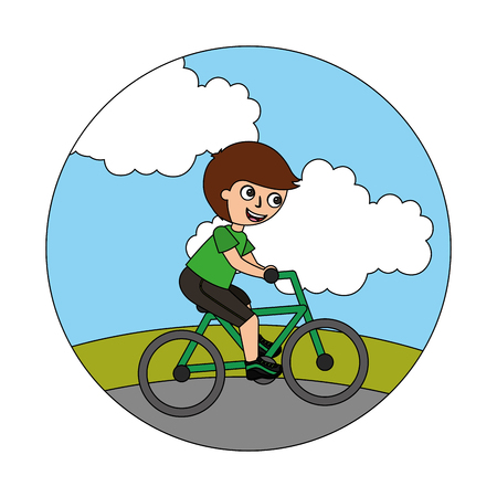 young boy in bicycle isolated icon vector illustration design Illustration