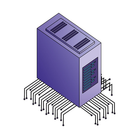 server data center with electronic circuit isometric icon vector illustration design