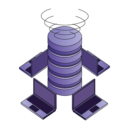 data center disks with laptops computers isometric icon vector illustration design