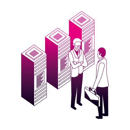 businessmen with data server center technology vector illustration neon design