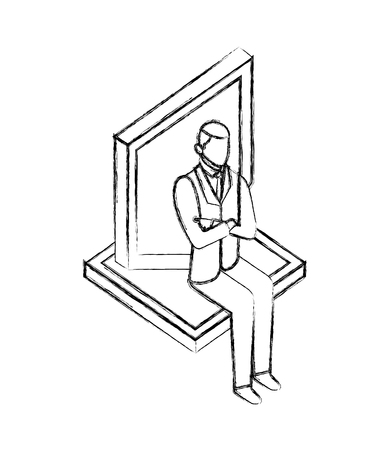 businessman sitting with shield protection vector illustration hand drawing Illustration