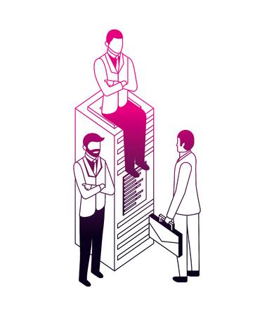 businessmen database server technology work business vector illustration neon design