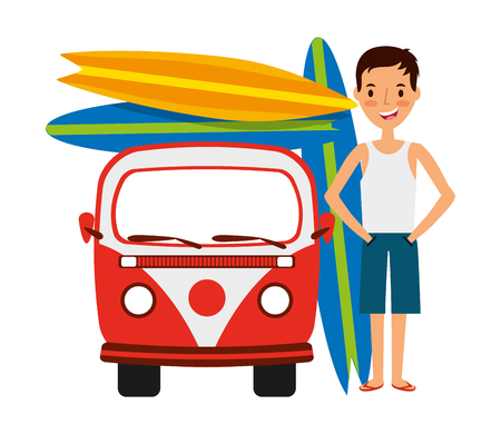 surfer with van and surfboards isolated icon vector illustration design