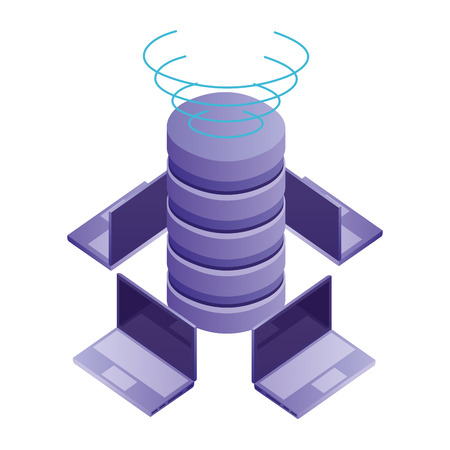 data center disks with laptops computers isometric icon vector illustration design Standard-Bild - 110418386