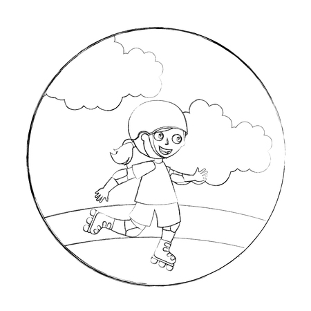 cute happy girl in the roller skates vector illustration hand drawing