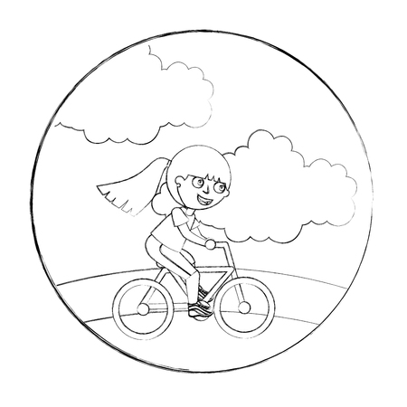 happy little girl riding in the bike vector illustration hand drawing