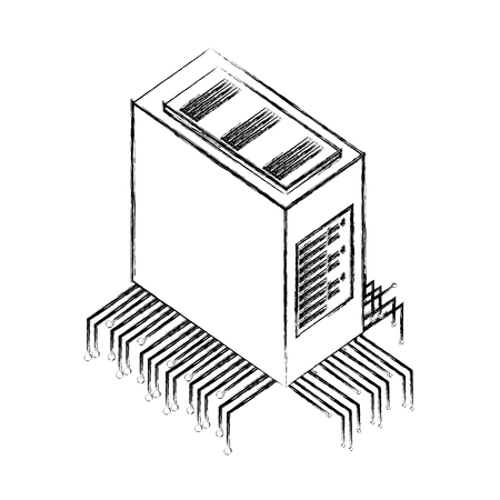 database server center circuit technology vector illustration hand drawing